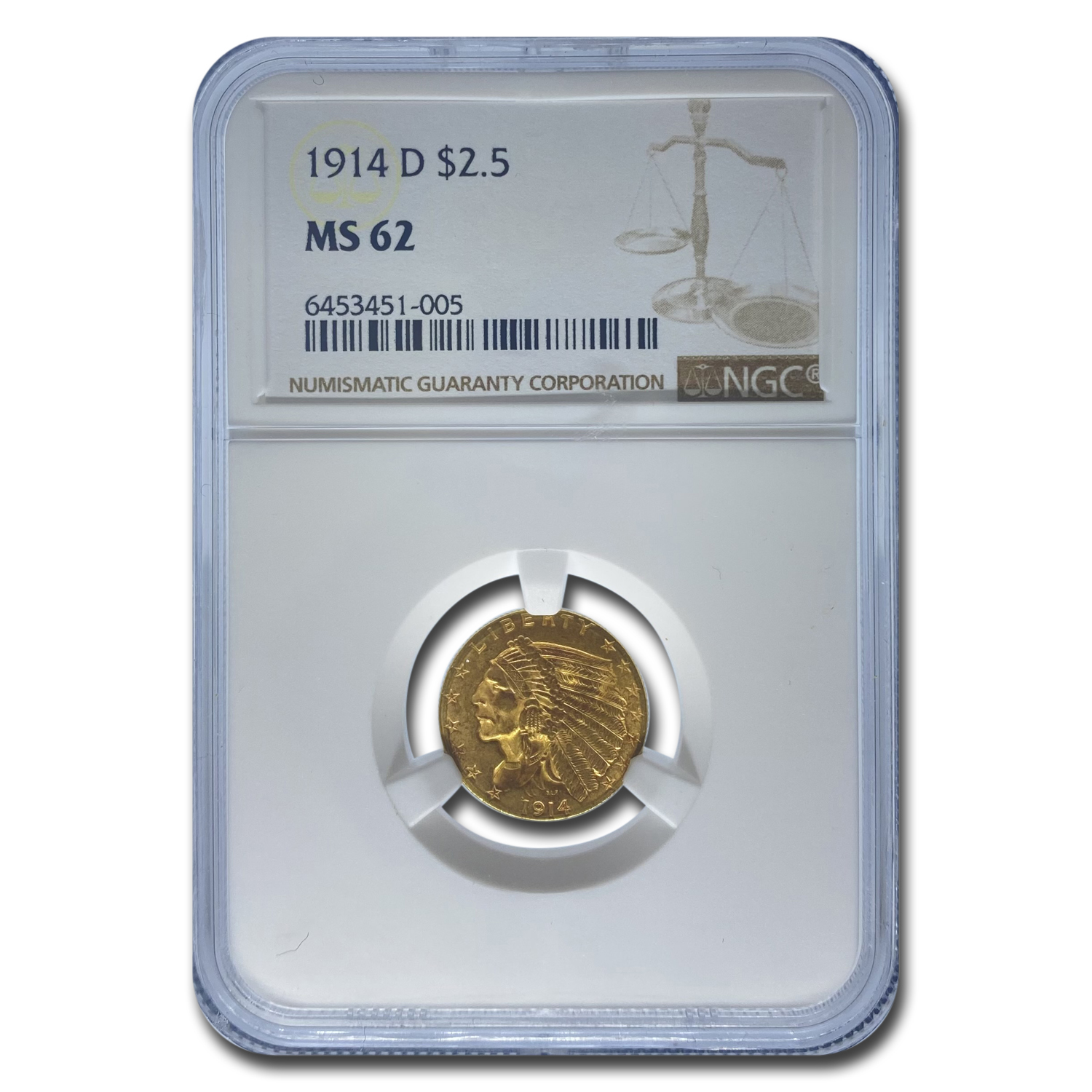 1914-D $2.50 Indian Gold Quarter Eagle - MS-62 NGC