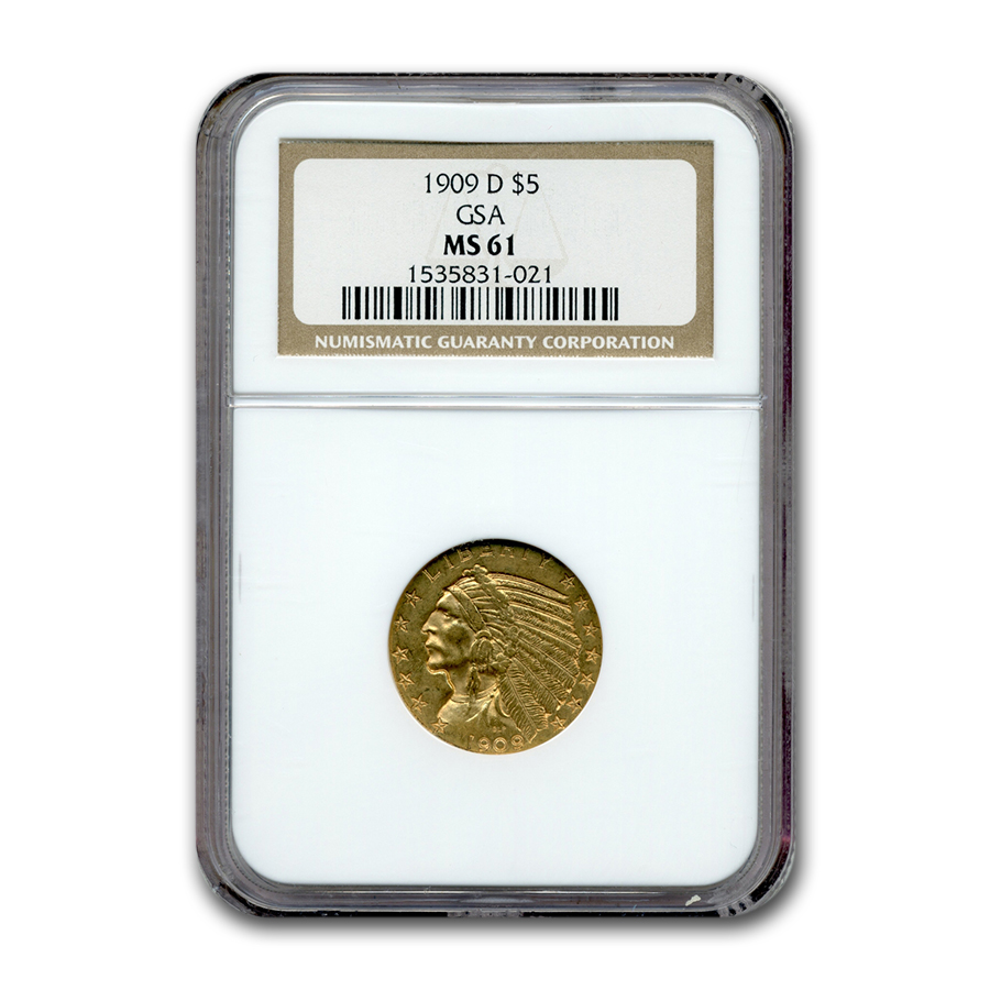 1909-D $5 Indian Gold Half Eagle MS-61 NGC