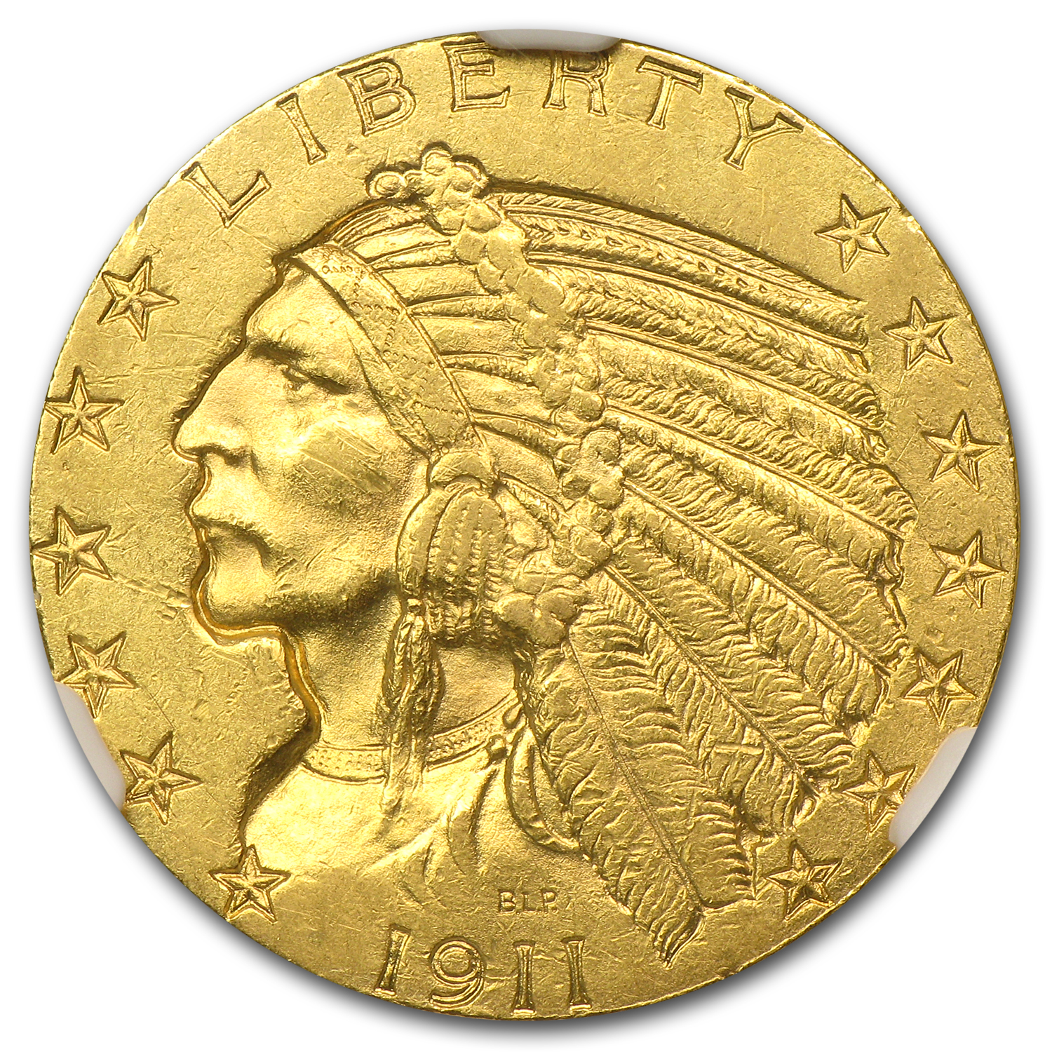 1911 $5 Indian Gold Half Eagle - AU-58 NGC