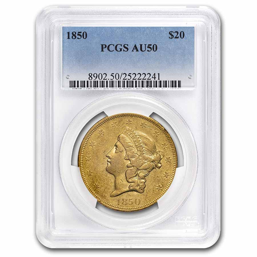1850 $20 Liberty Gold Double Eagle AU-50 PCGS