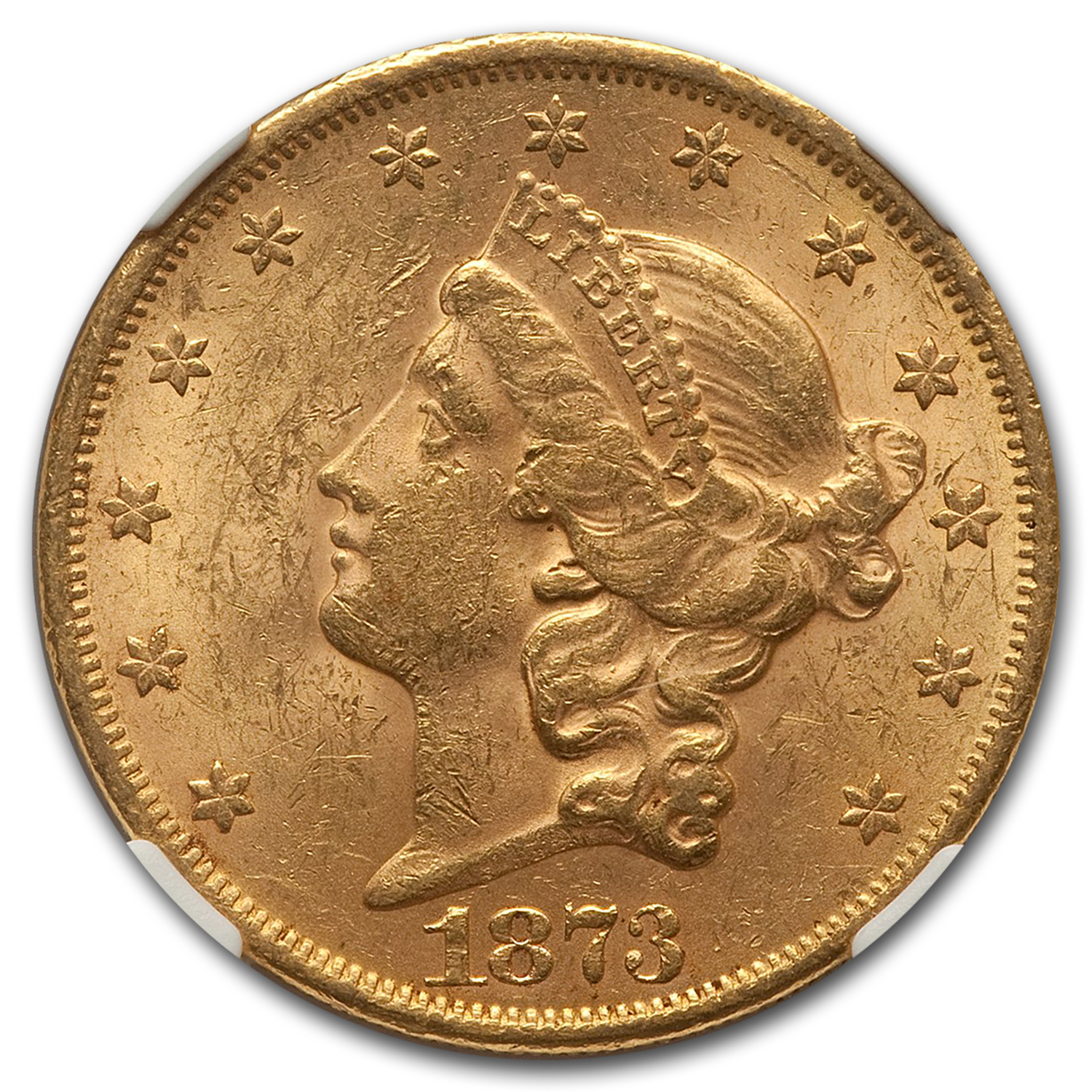 1873 $20 Gold Liberty Double Eagle - (Open 3) - MS-61 NGC