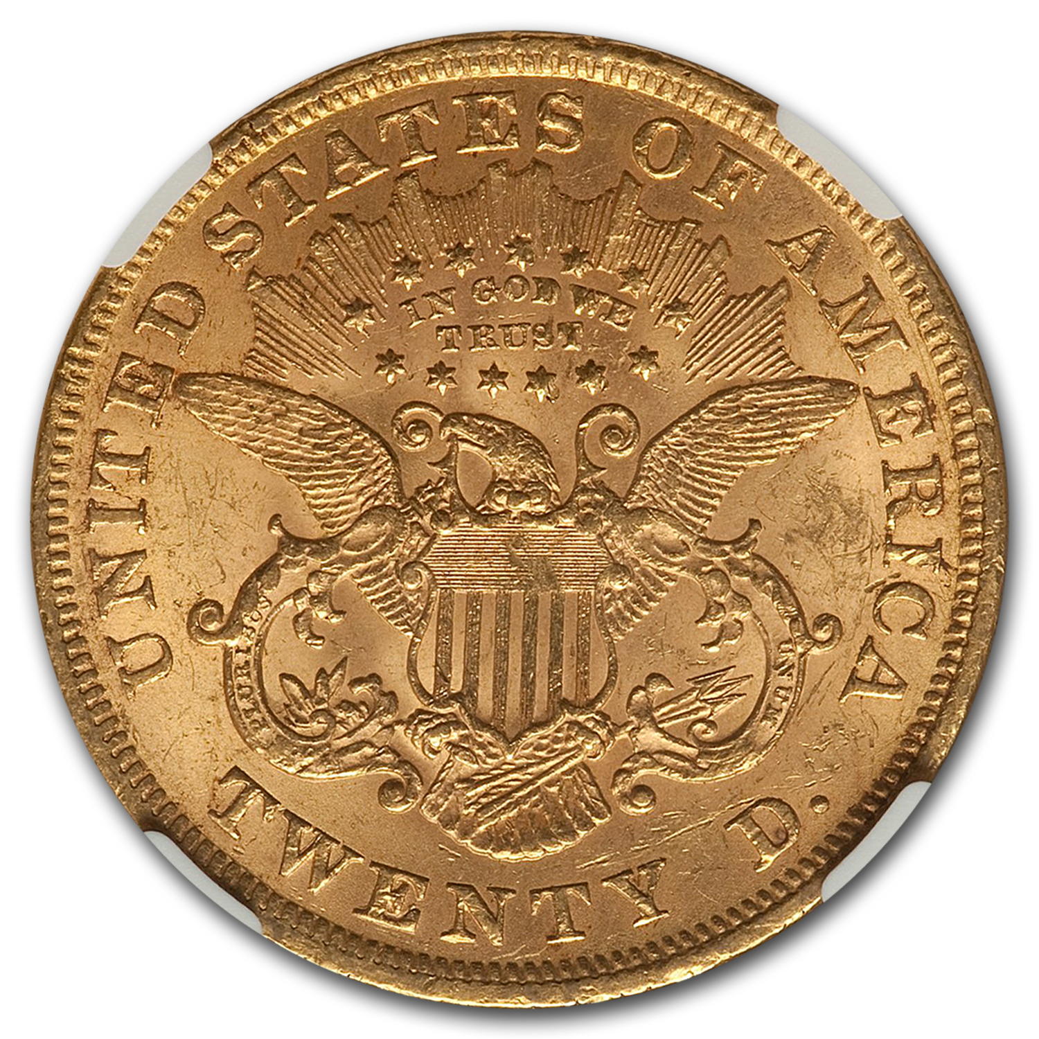 1873 $20 Liberty Gold Double Eagle Open 3 MS-61 NGC