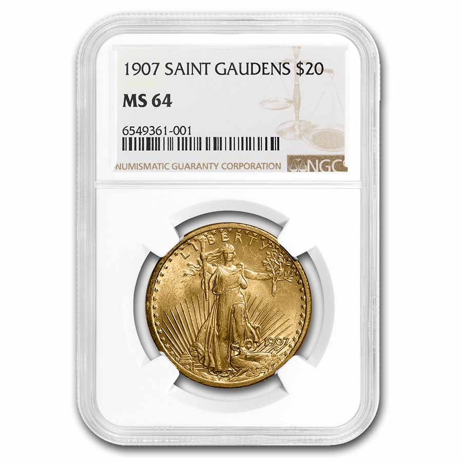 1907 $20 St. Gaudens Gold Double Eagle MS-64 NGC