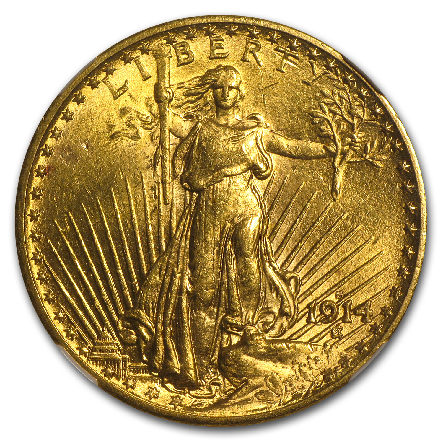 1914-S $20 St. Gaudens Gold Double Eagle - MS-62 NGC