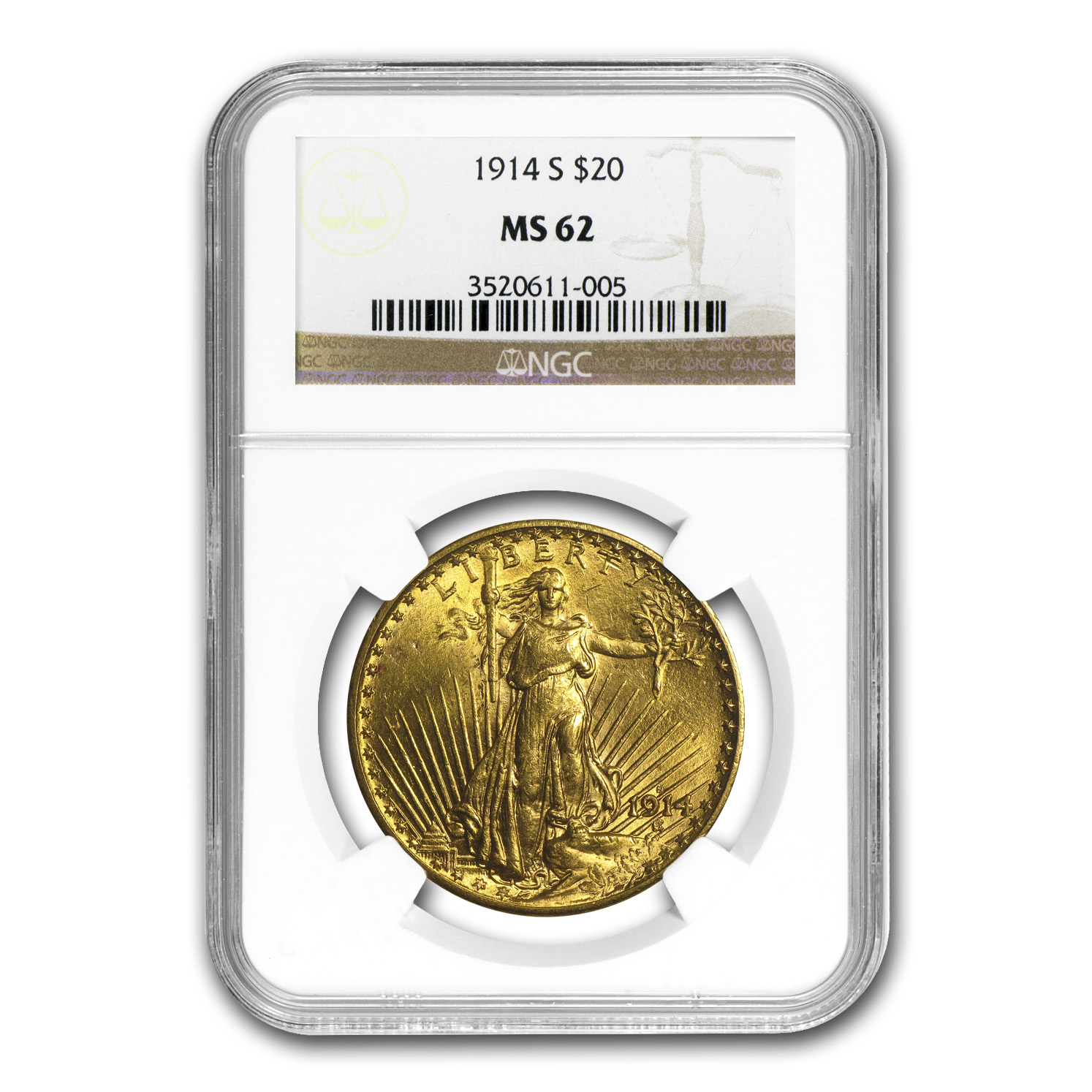 1914-S $20 St. Gaudens Gold Double Eagle MS-62 NGC