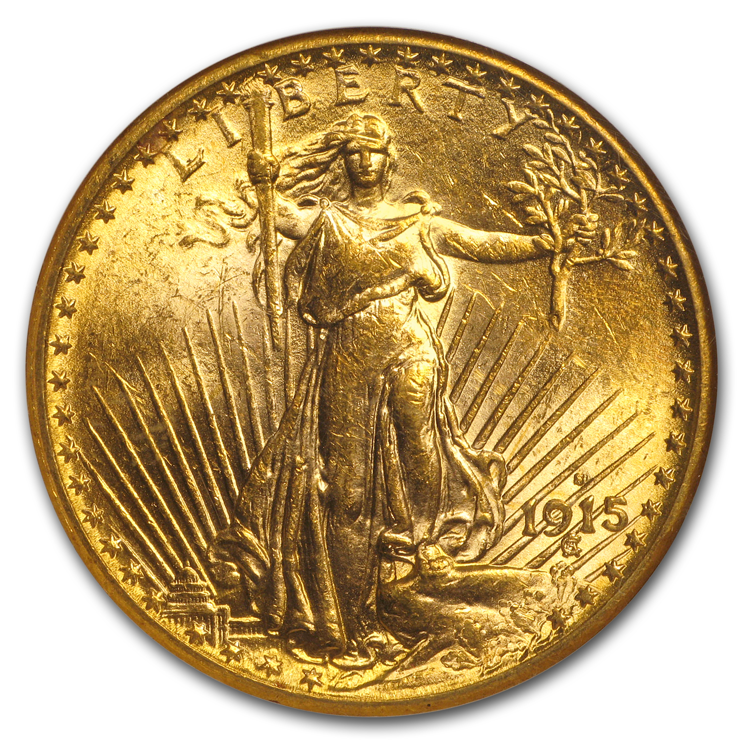 1915-S $20 St. Gaudens Gold Double Eagle MS-62 NGC