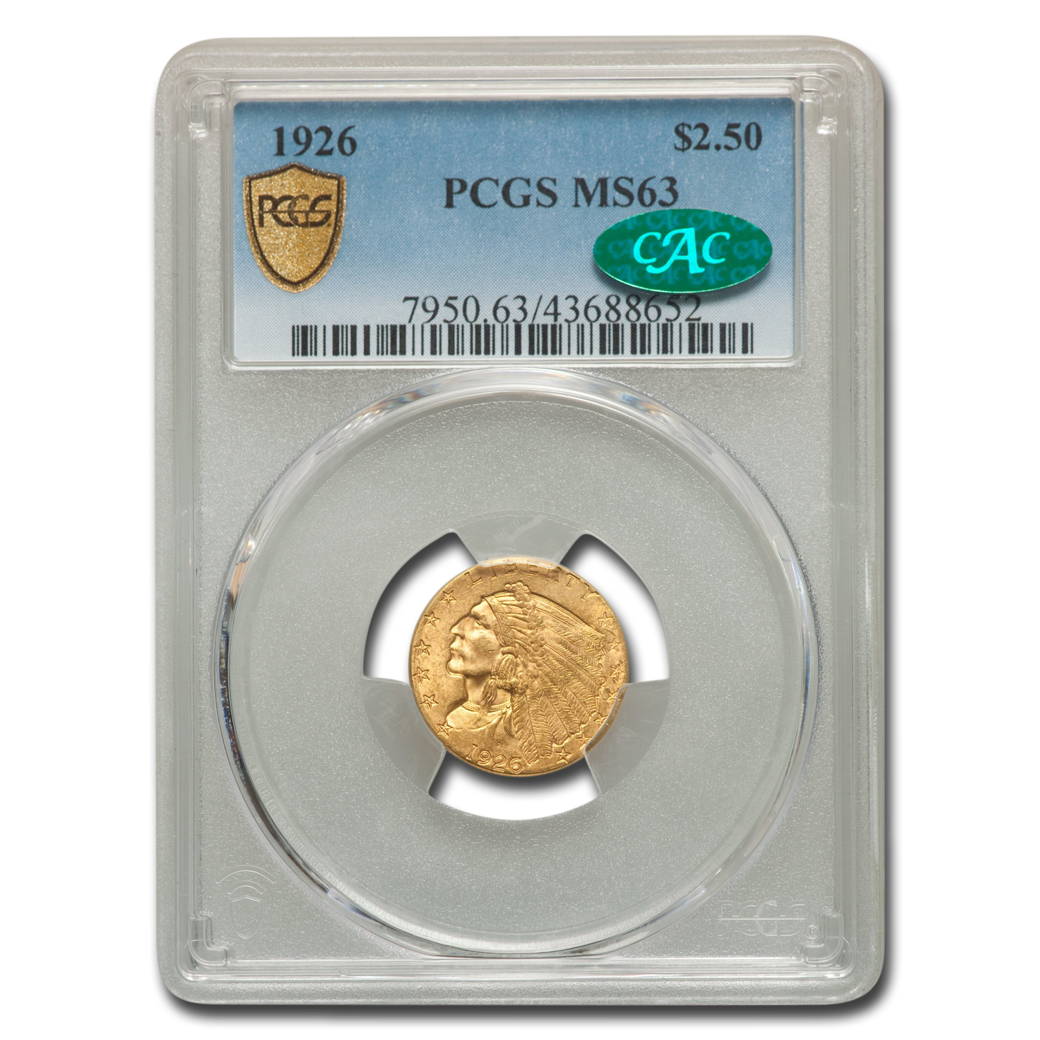 1926 $2.50 Indian Gold Quarter Eagle MS-63 PCGS CAC