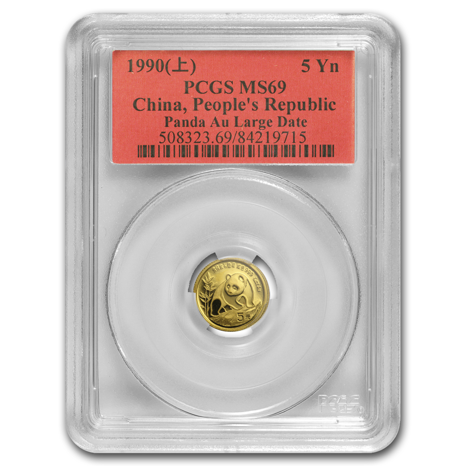 1990 China 1/20 oz Gold Panda Large Date MS-69 PCGS