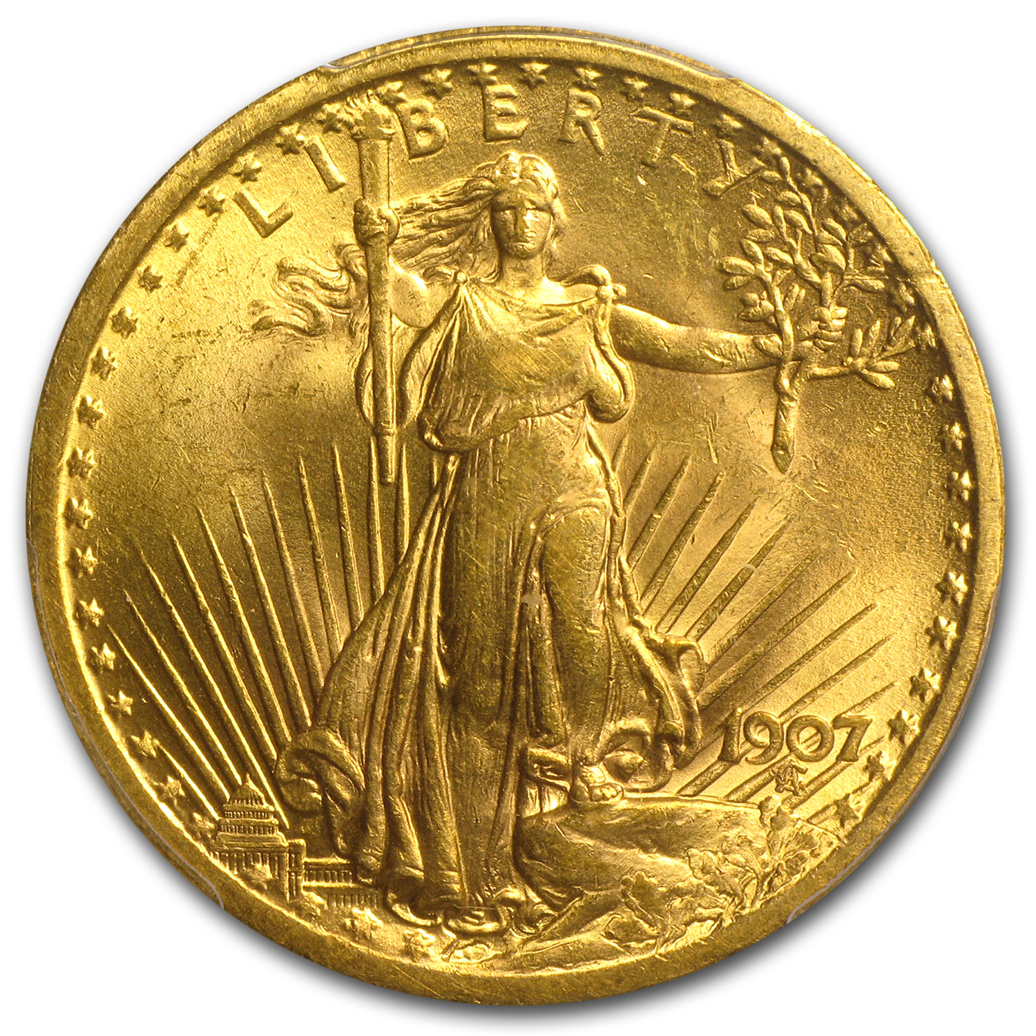 1907 $20 St. Gaudens Gold Double Eagle - MS-63 PCGS