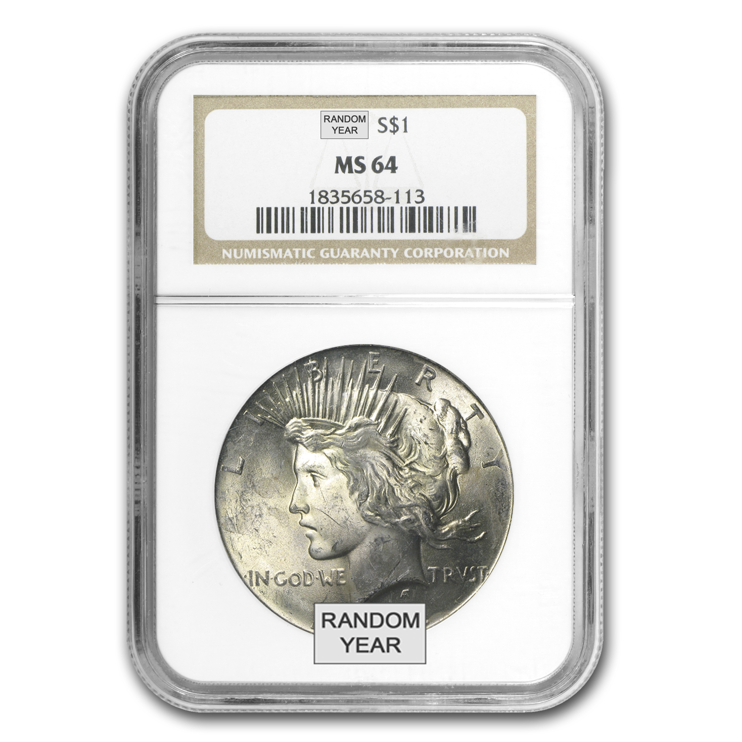 1922-1925 Peace Silver Dollars - MS-64 NGC