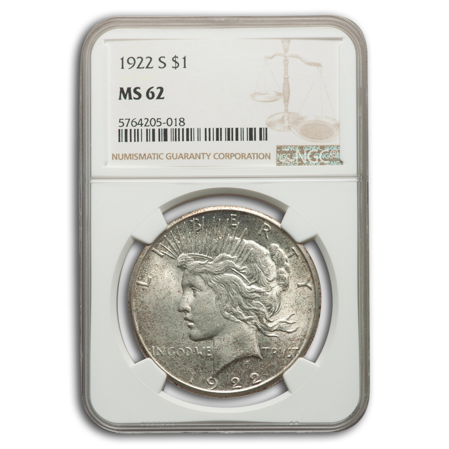 1922-S Peace Dollar MS-62 NGC