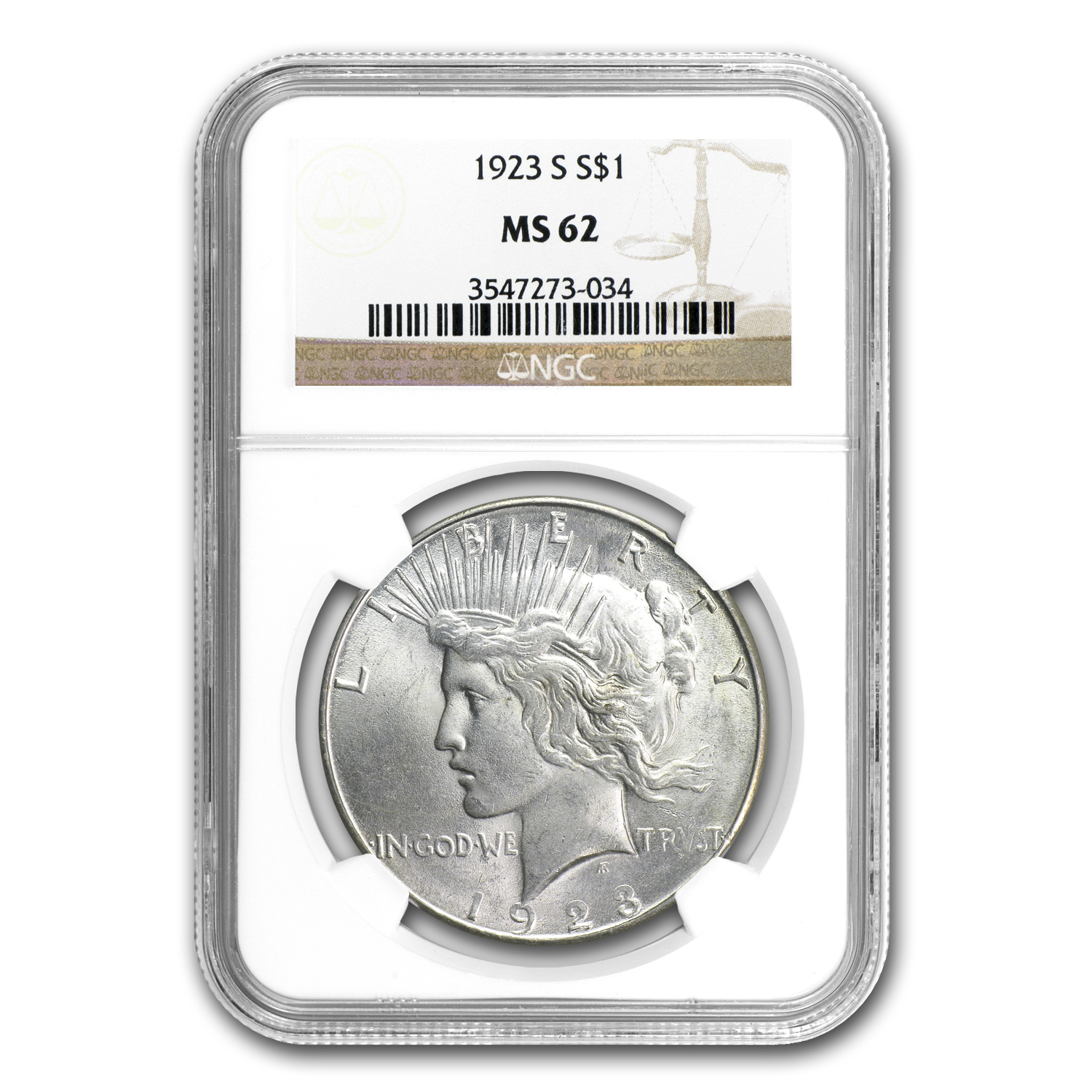 1923-S Peace Dollar MS-62 NGC