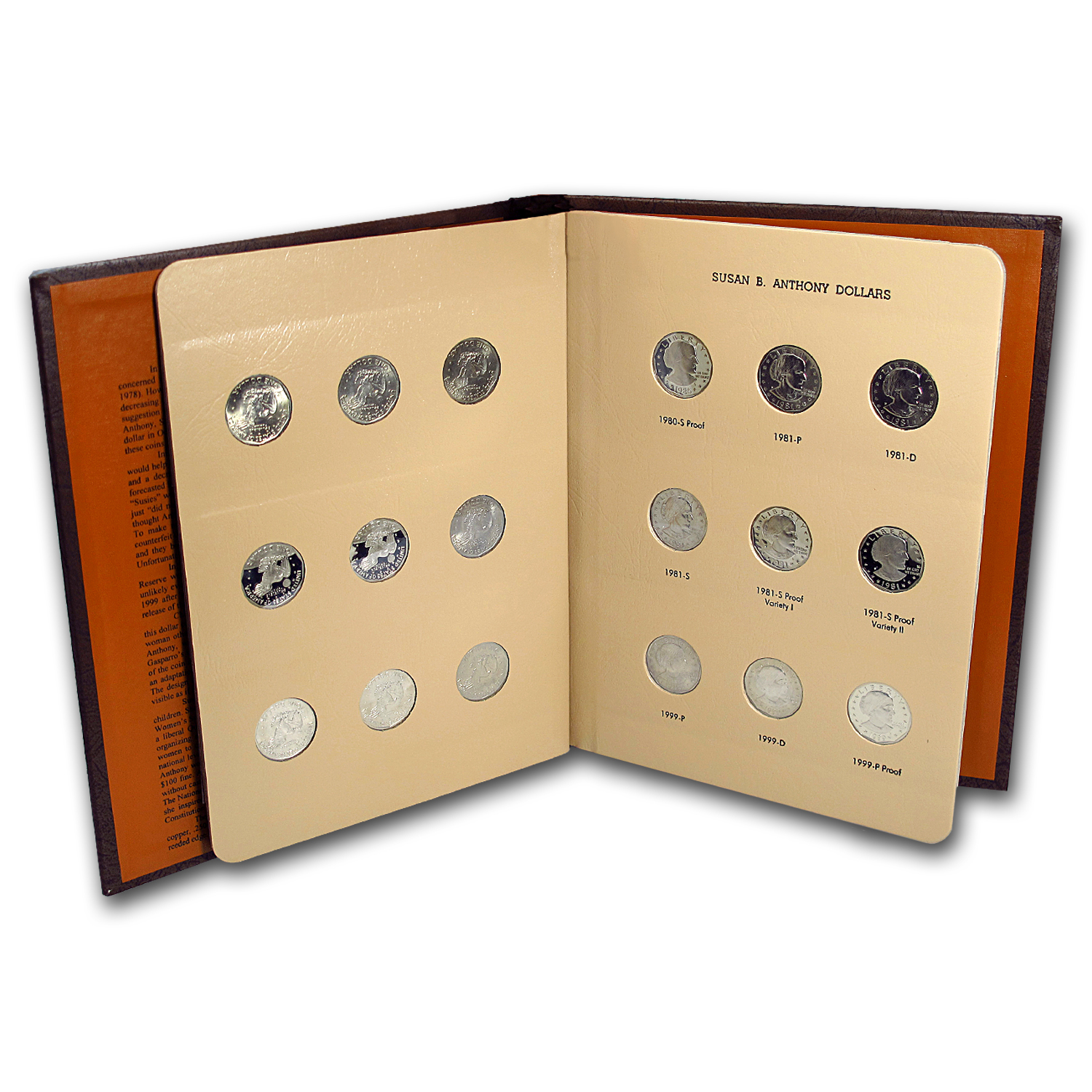 Susan B. Anthony Dollar 18-Coin Set (Dansco Album)