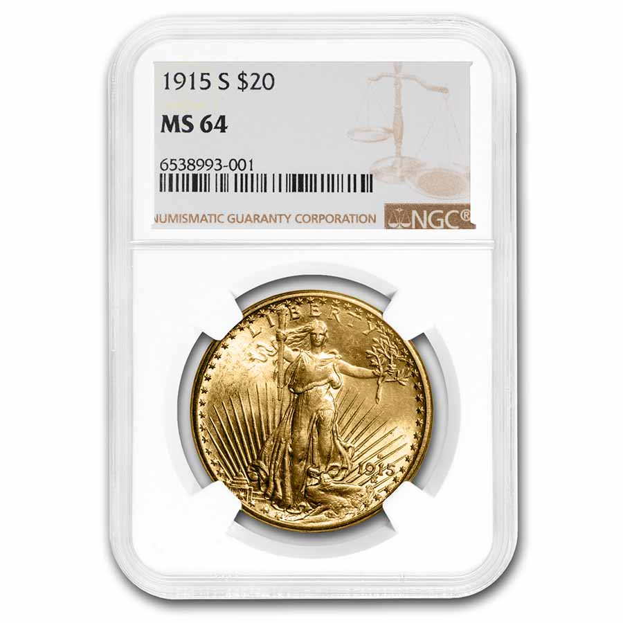 1915-S $20 St. Gaudens Gold Double Eagle MS-64 NGC