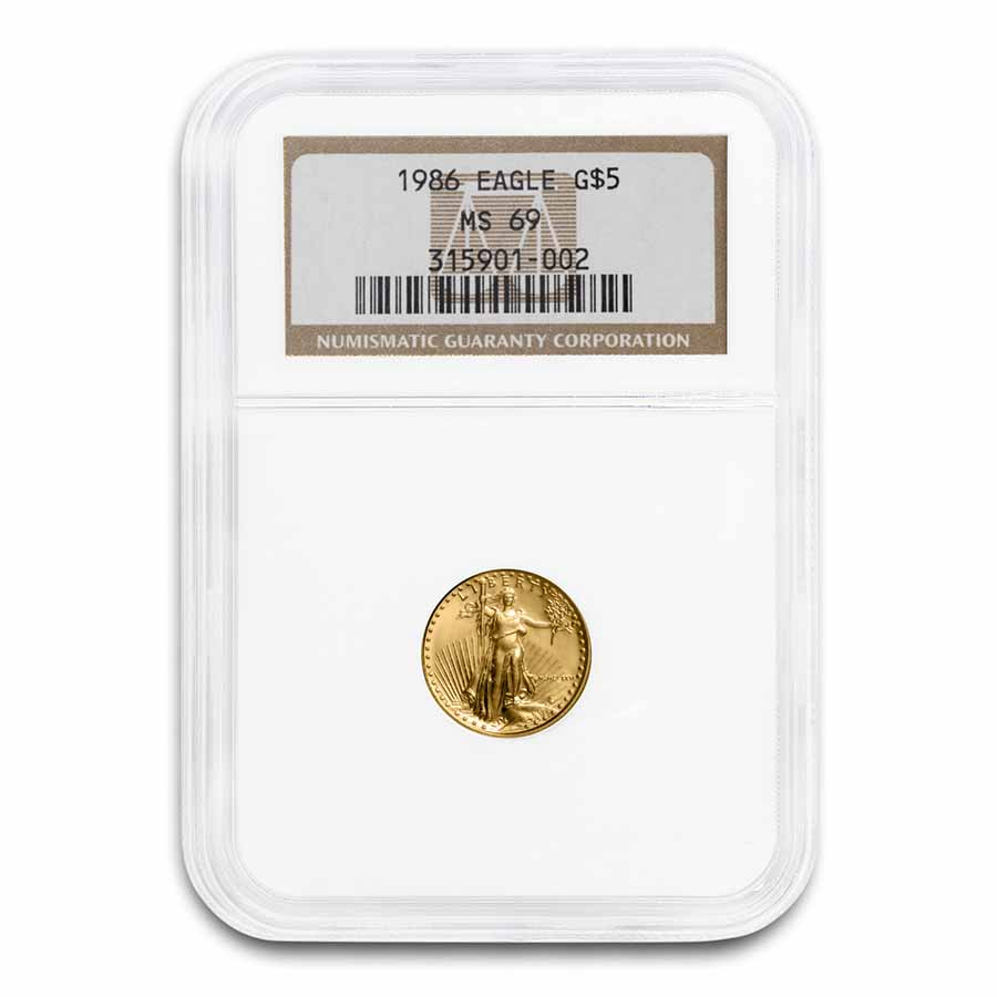 1986 1/10 oz Gold American Eagle MS-69 NGC