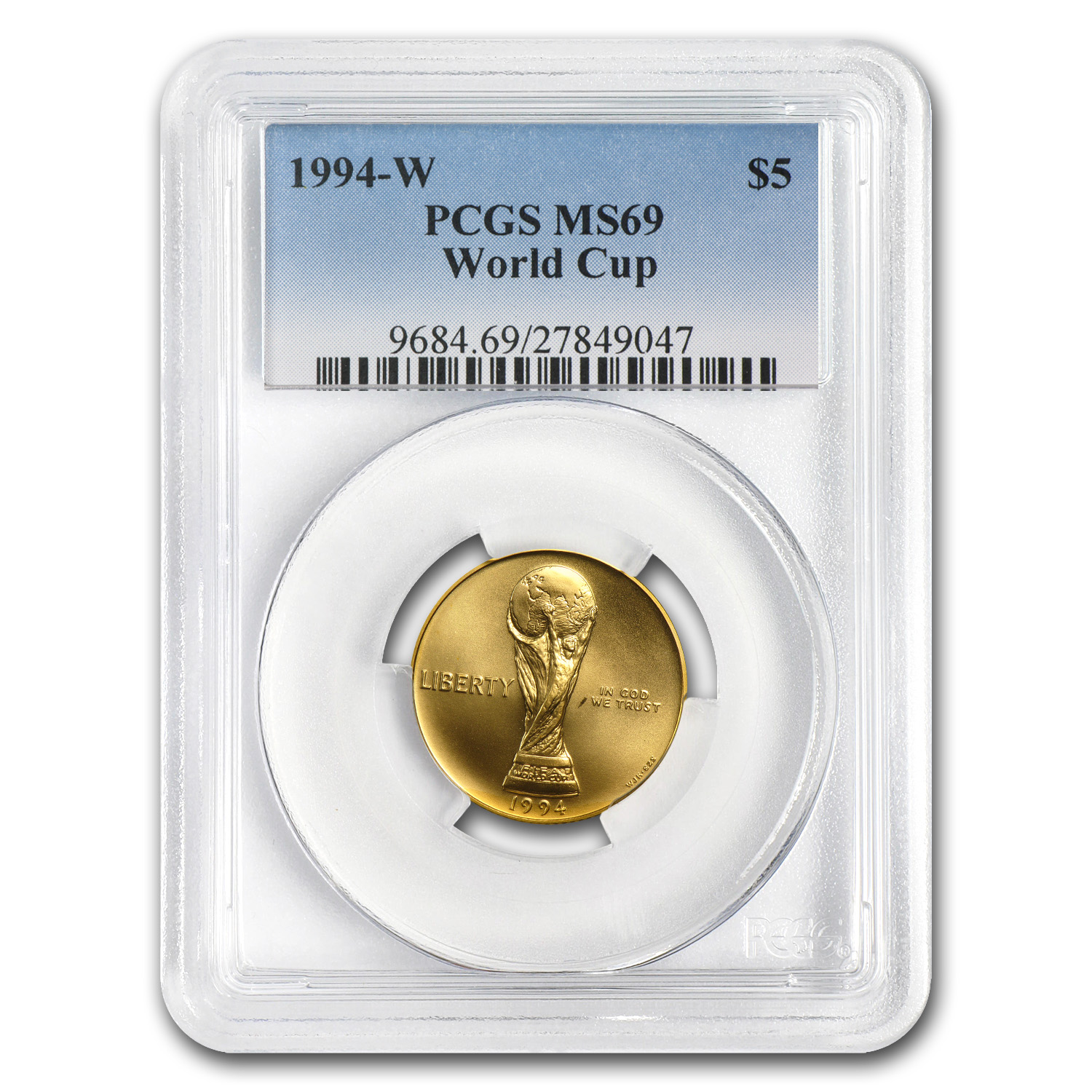 1994-W Gold $5 Commemorative World Cup MS-69 PCGS