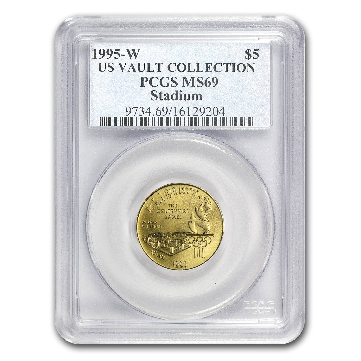 1995-W Gold $5 Commem Olympic Stadium MS-69 PCGS