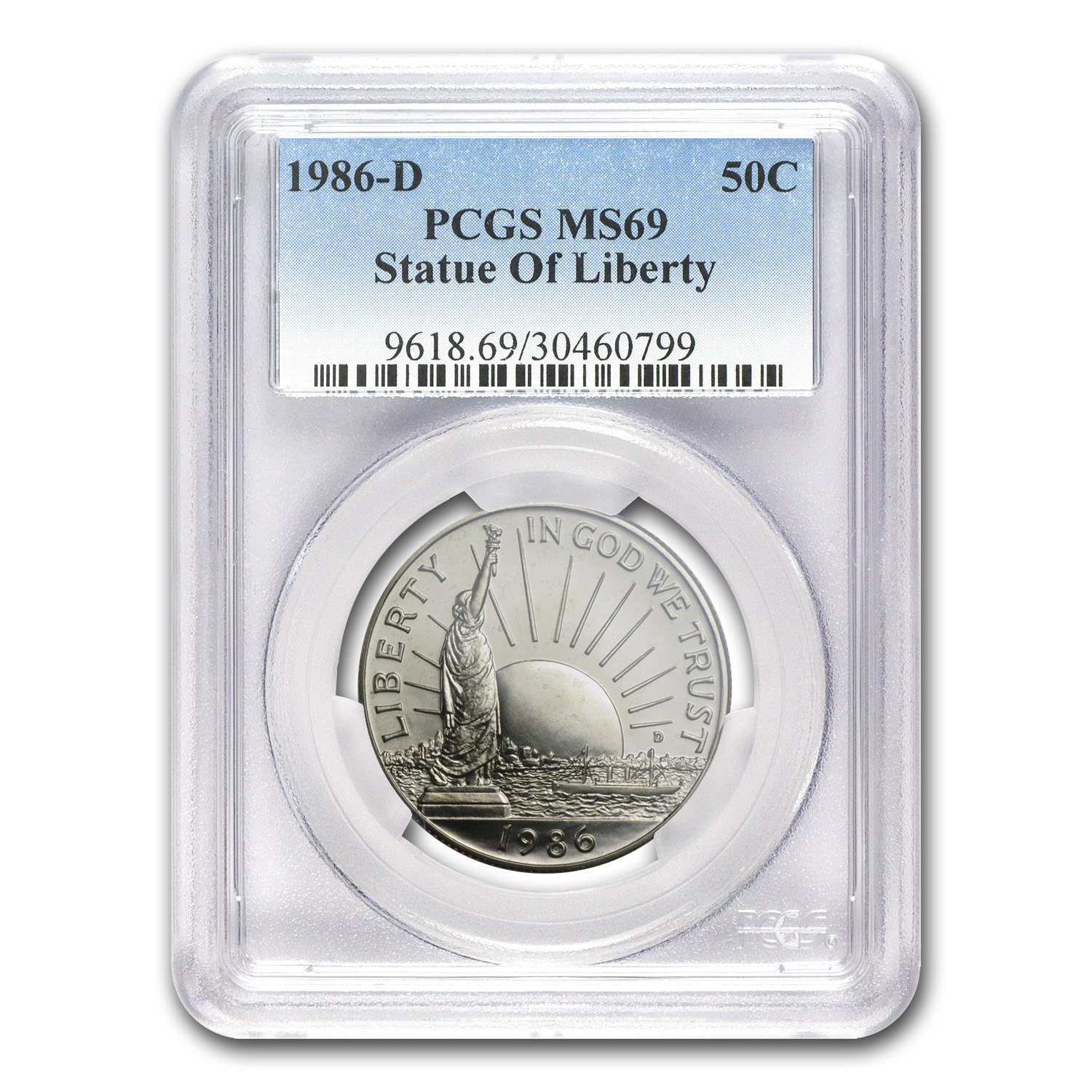 1986-D Statue of Liberty 1/2 Dollar Clad Commem MS-69 PCGS