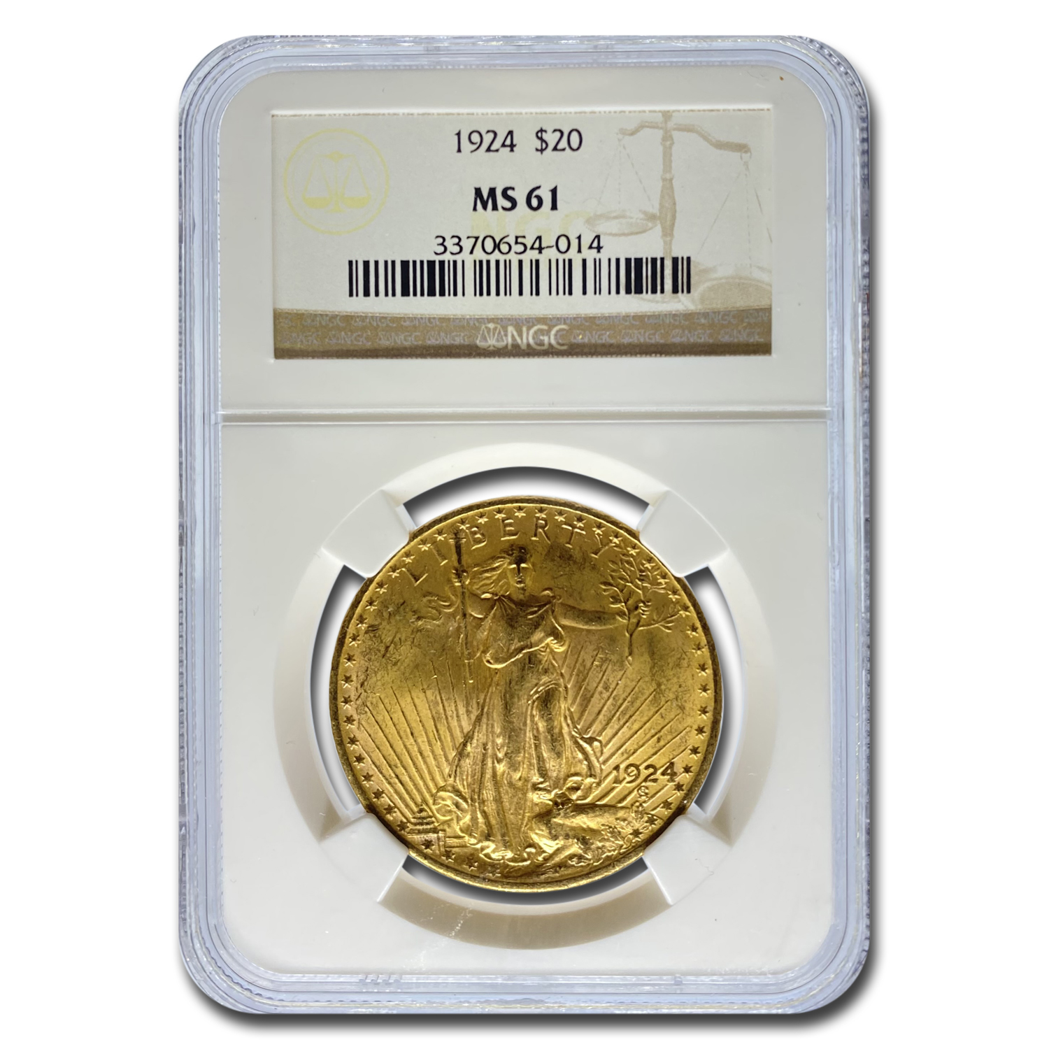 1924 $20 St. Gaudens Gold Double Eagle MS-61 NGC