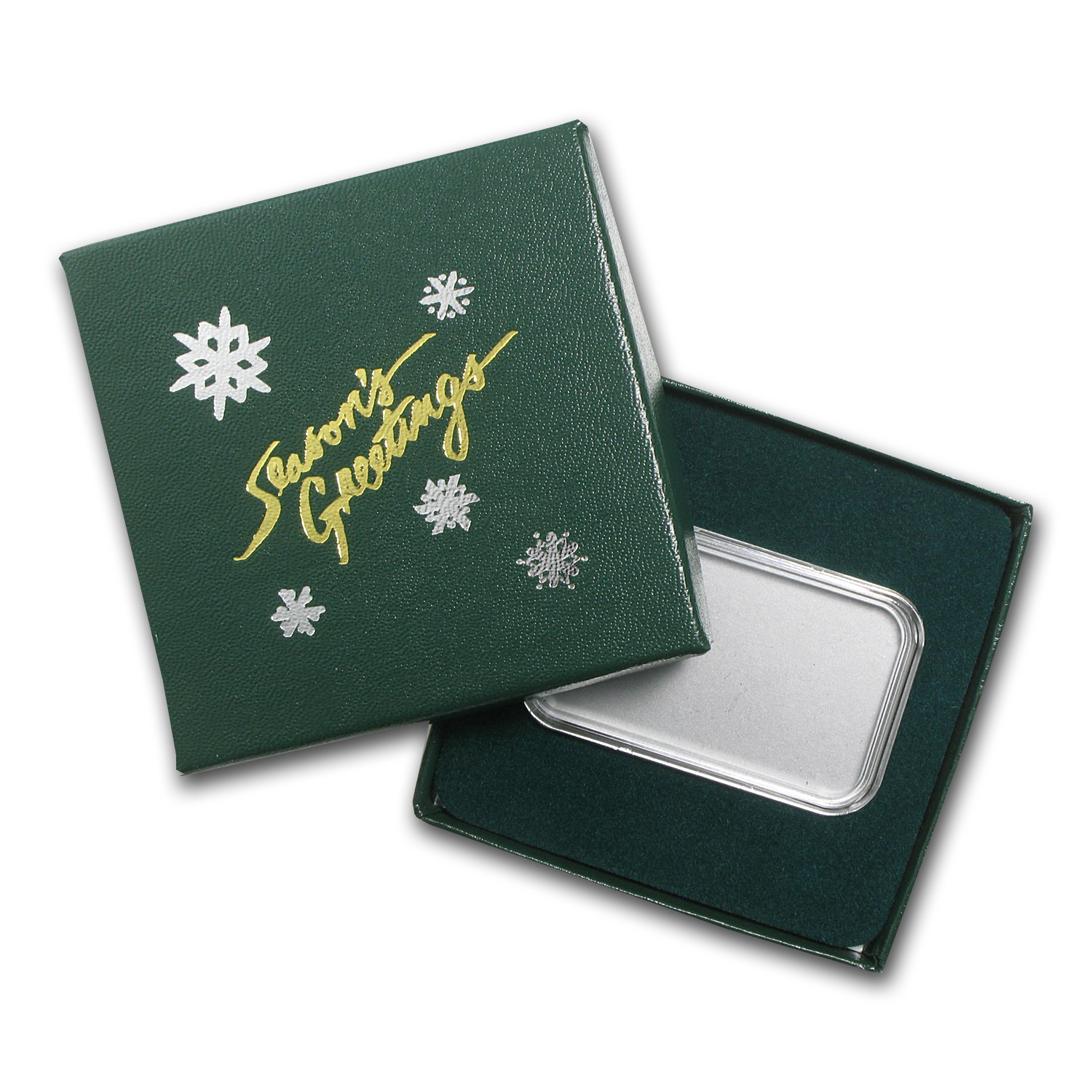 Season's Greetings Green Gift Box for 1 oz Silver Bars w/ Capsule
