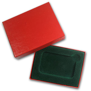2 in. x 3 in. Red w/ Green Felt Lined Gift Box for Silver Bar