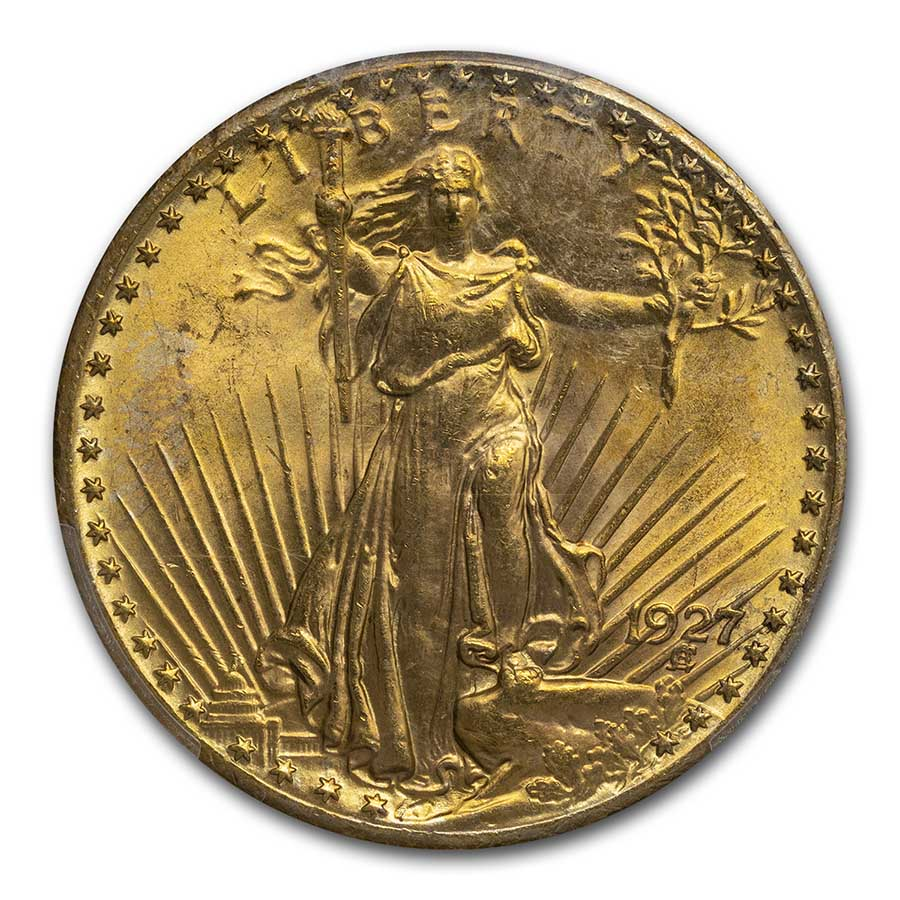 1927 $20 St. Gaudens Gold Double Eagle - MS-66 PCGS