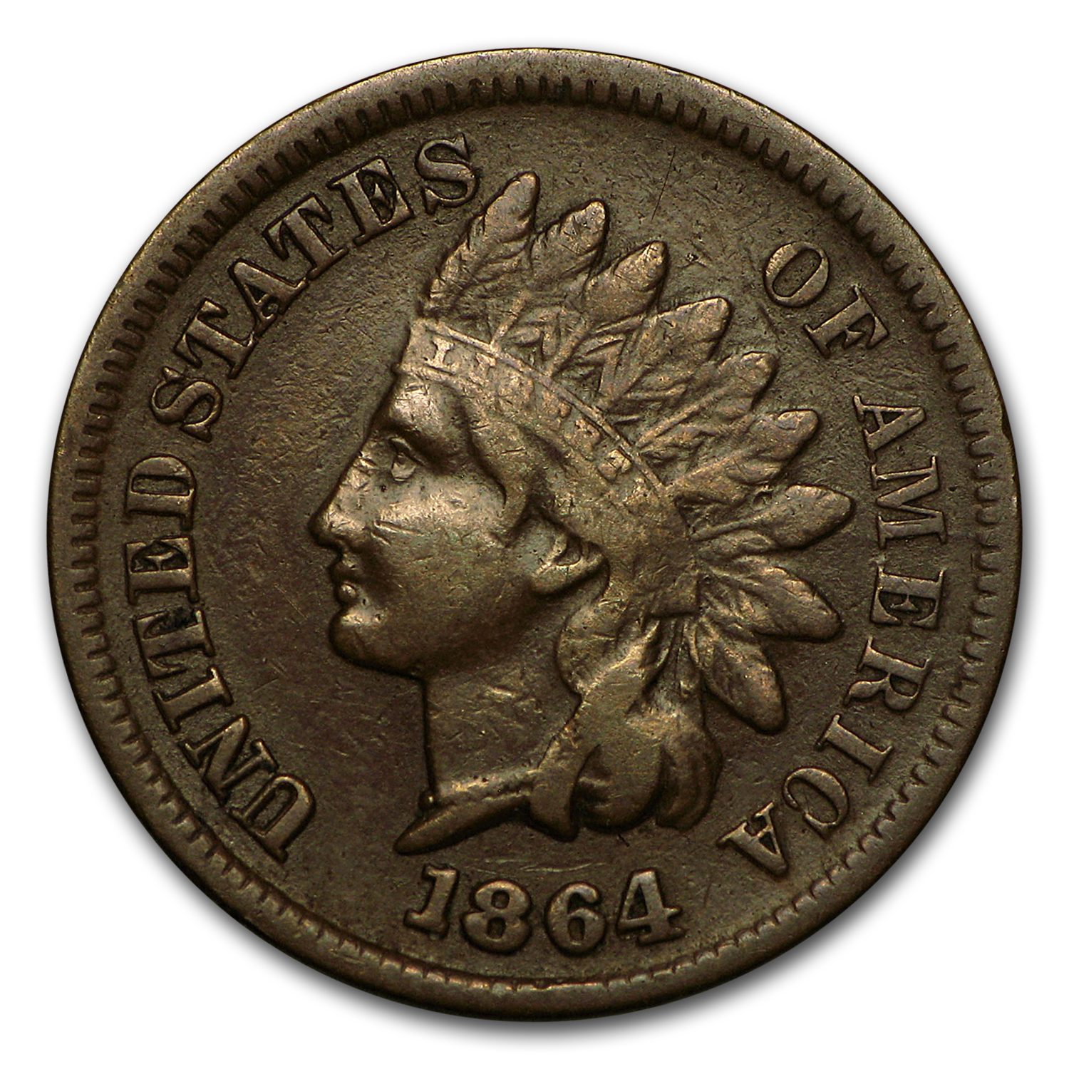 1864-L Indian Head Cent VF