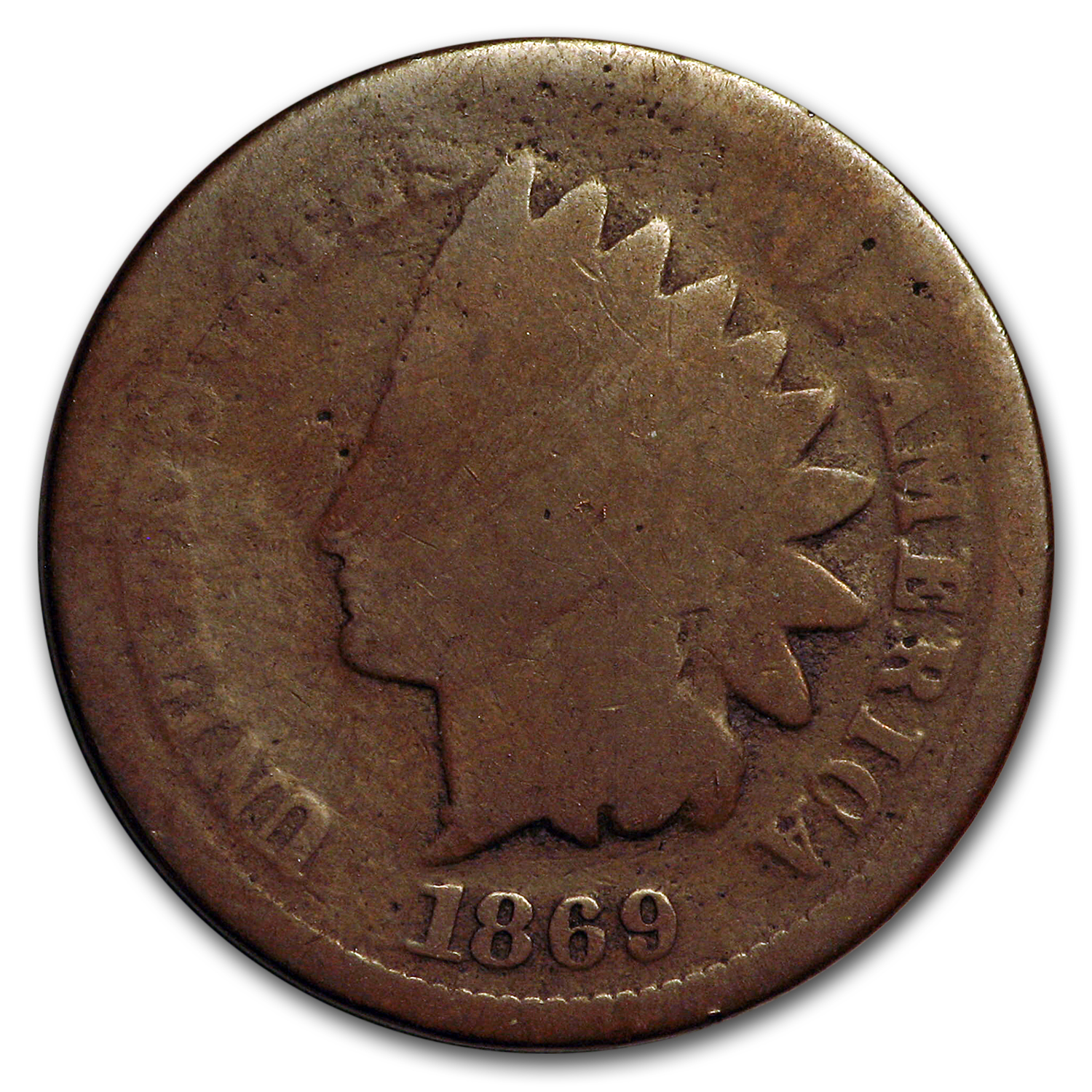 1869 Indian Head Cent Almost Good
