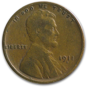 1911-S Lincoln Cent VG