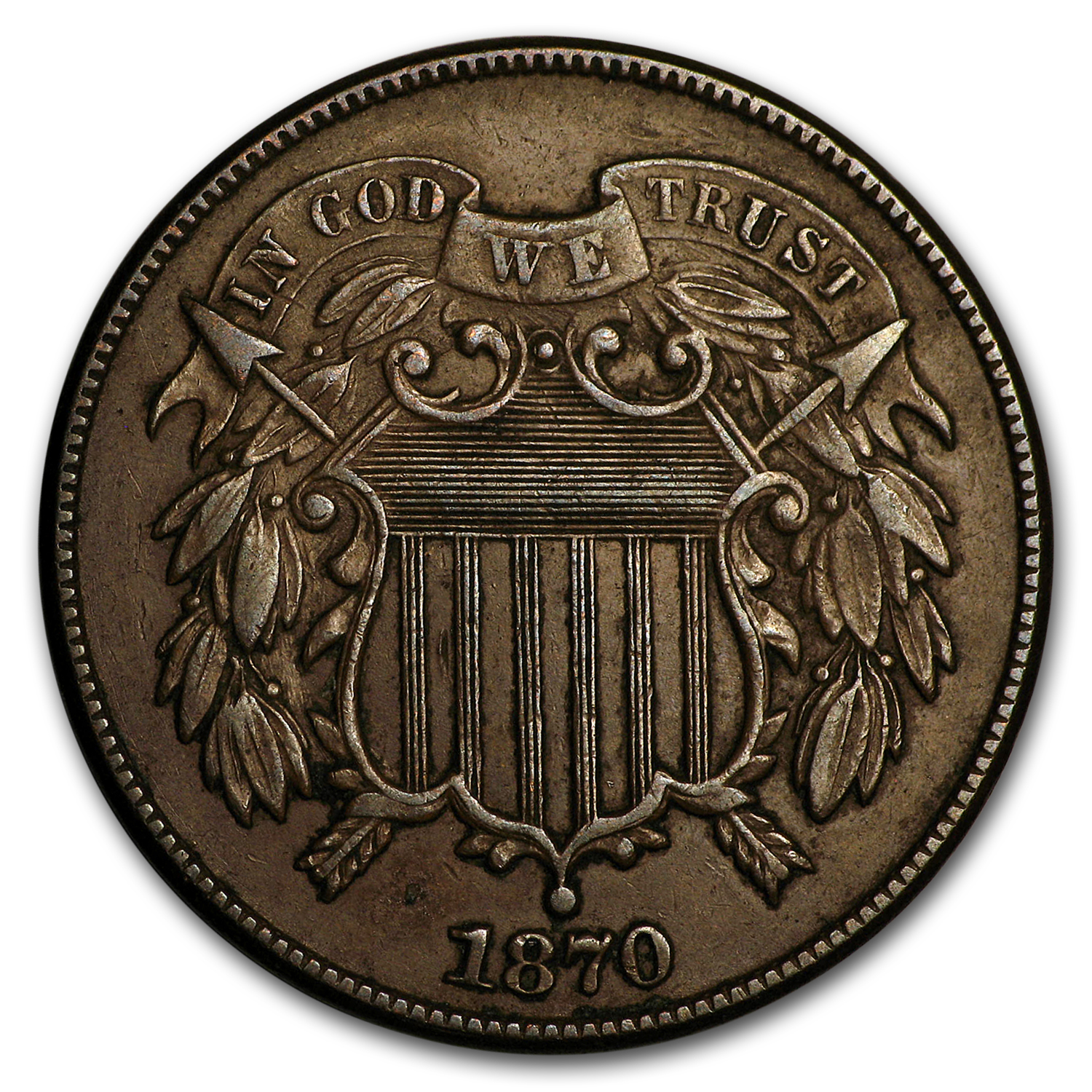 1870 Two Cent Piece XF