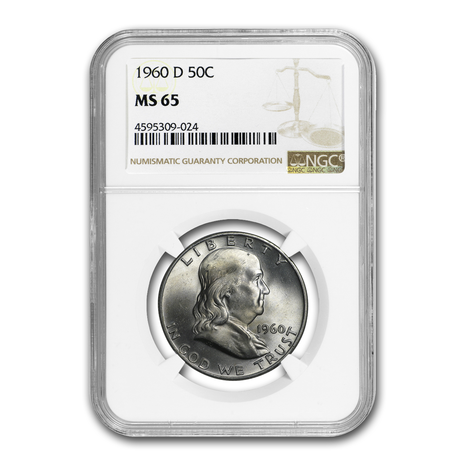 1960-D Franklin Half Dollar MS-65 NGC