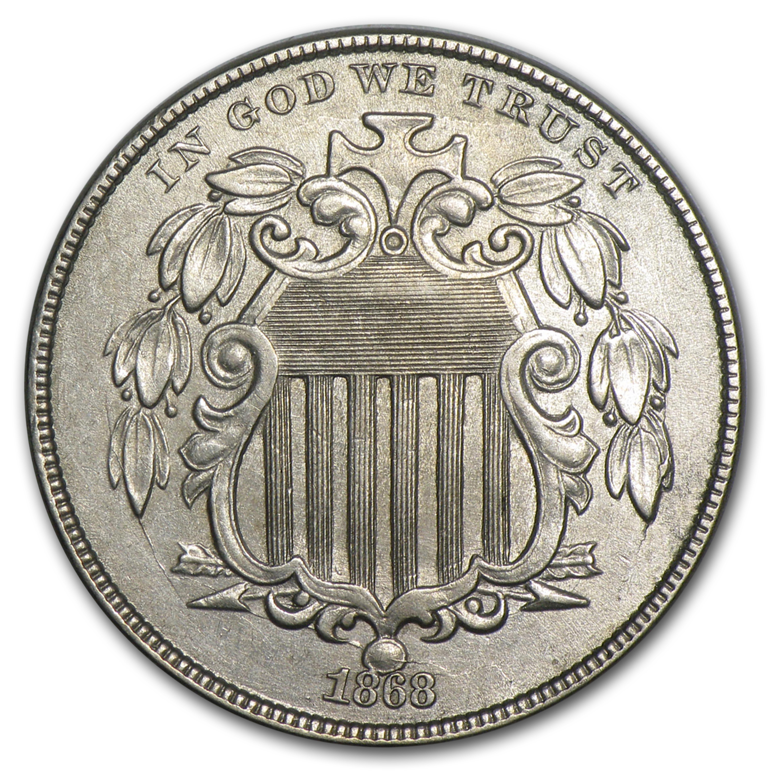 1868 Shield Nickel AU