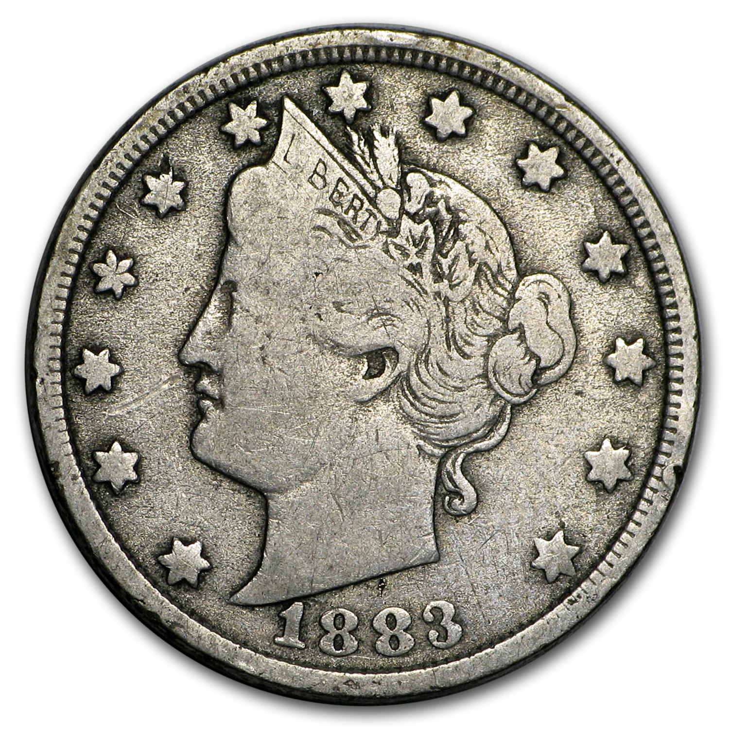 1883 Liberty Head V Nickel No Cents VG-XF