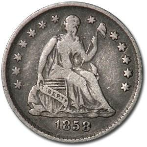 1858 Liberty Seated Half Dime Xf Liberty Seated Half