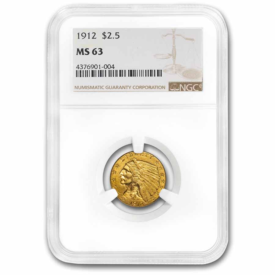 1912 $2.50 Indian Gold Quarter Eagle MS-63 NGC