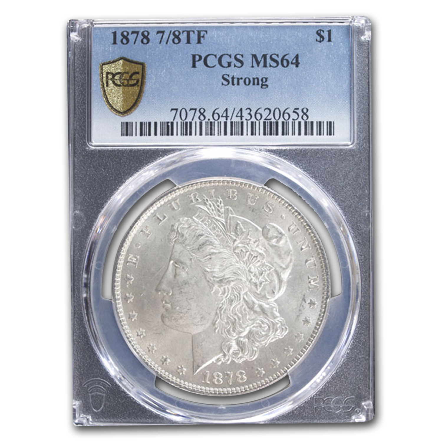 1878 Morgan Dollar 7/8 TF Strong MS-64 PCGS