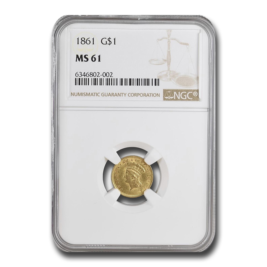 1861 $1 Indian Head Gold MS-61 NGC