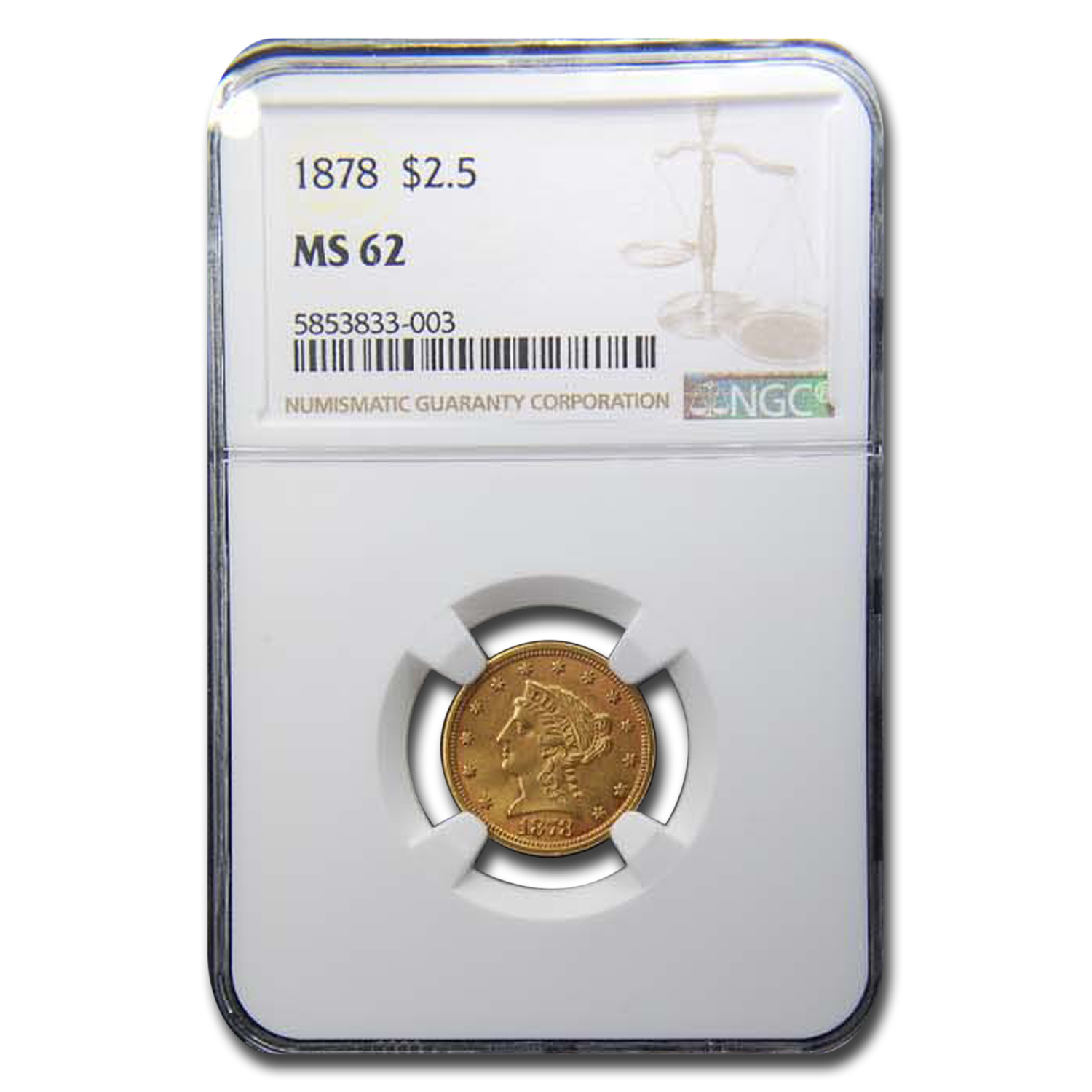 1878 $2.50 Liberty Gold Quarter Eagle MS-62 NGC