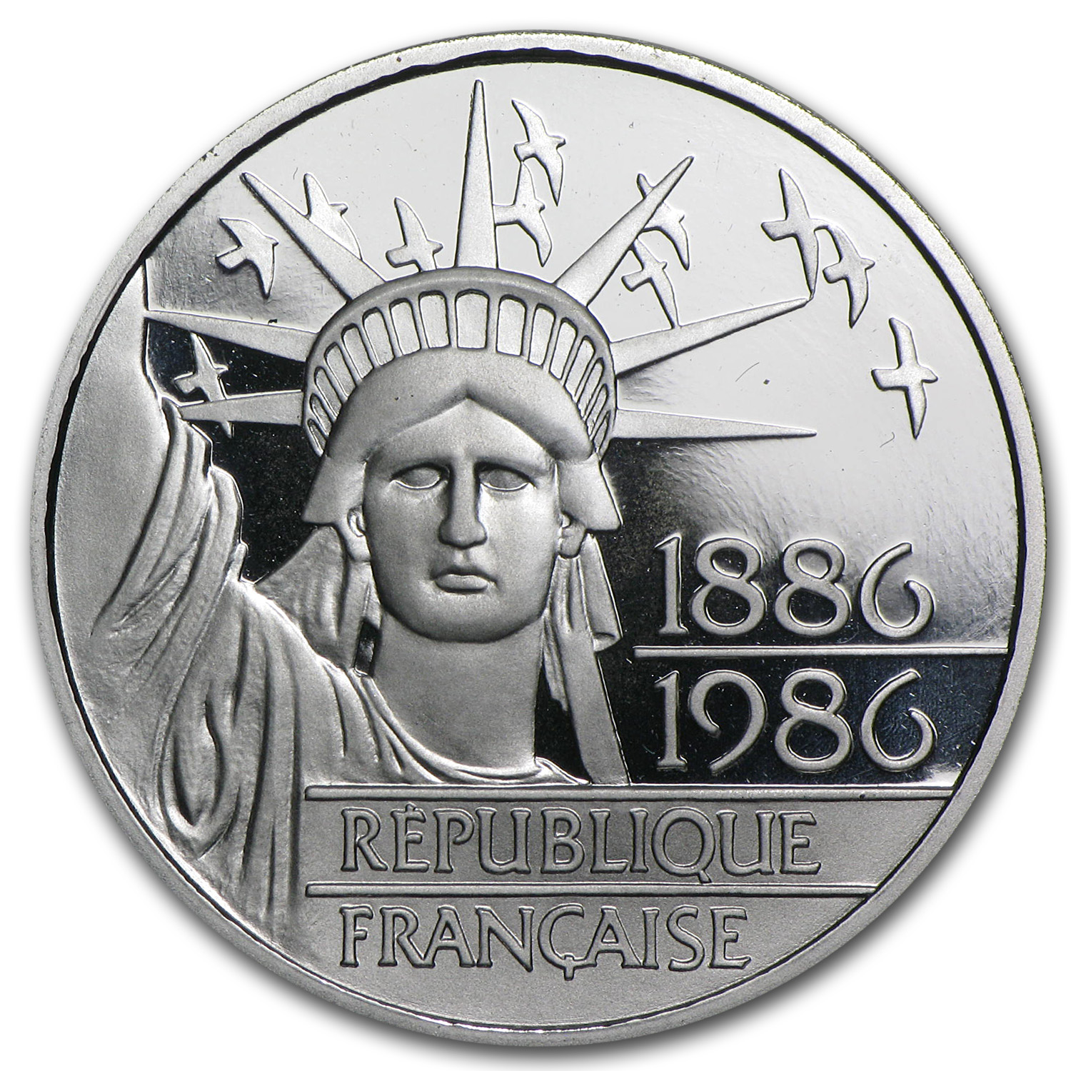 1986 Platinum 100 Francs Statue of Liberty Proof (APW .6430 oz)