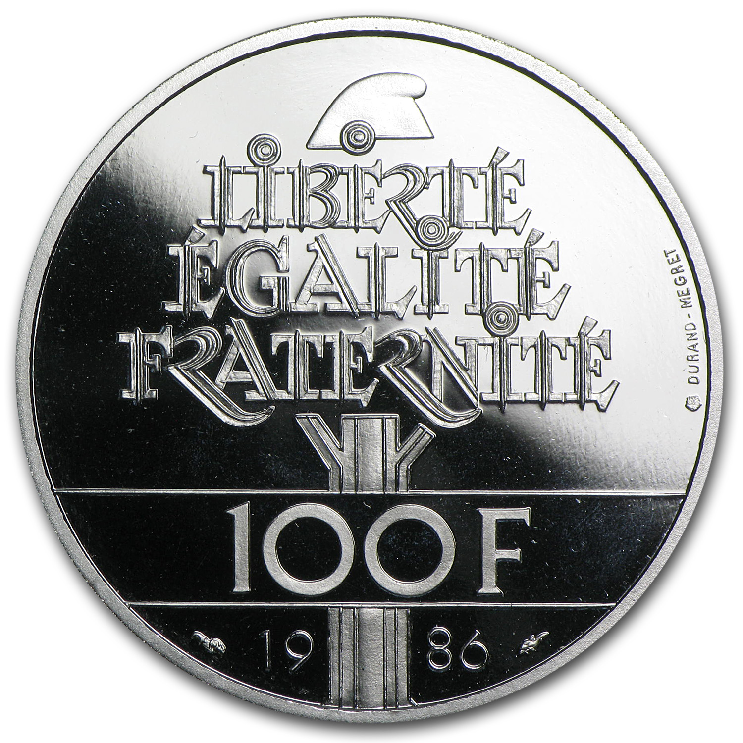 1986 100 Francs Proof Statue of Liberty Platinum Coin APW .6430