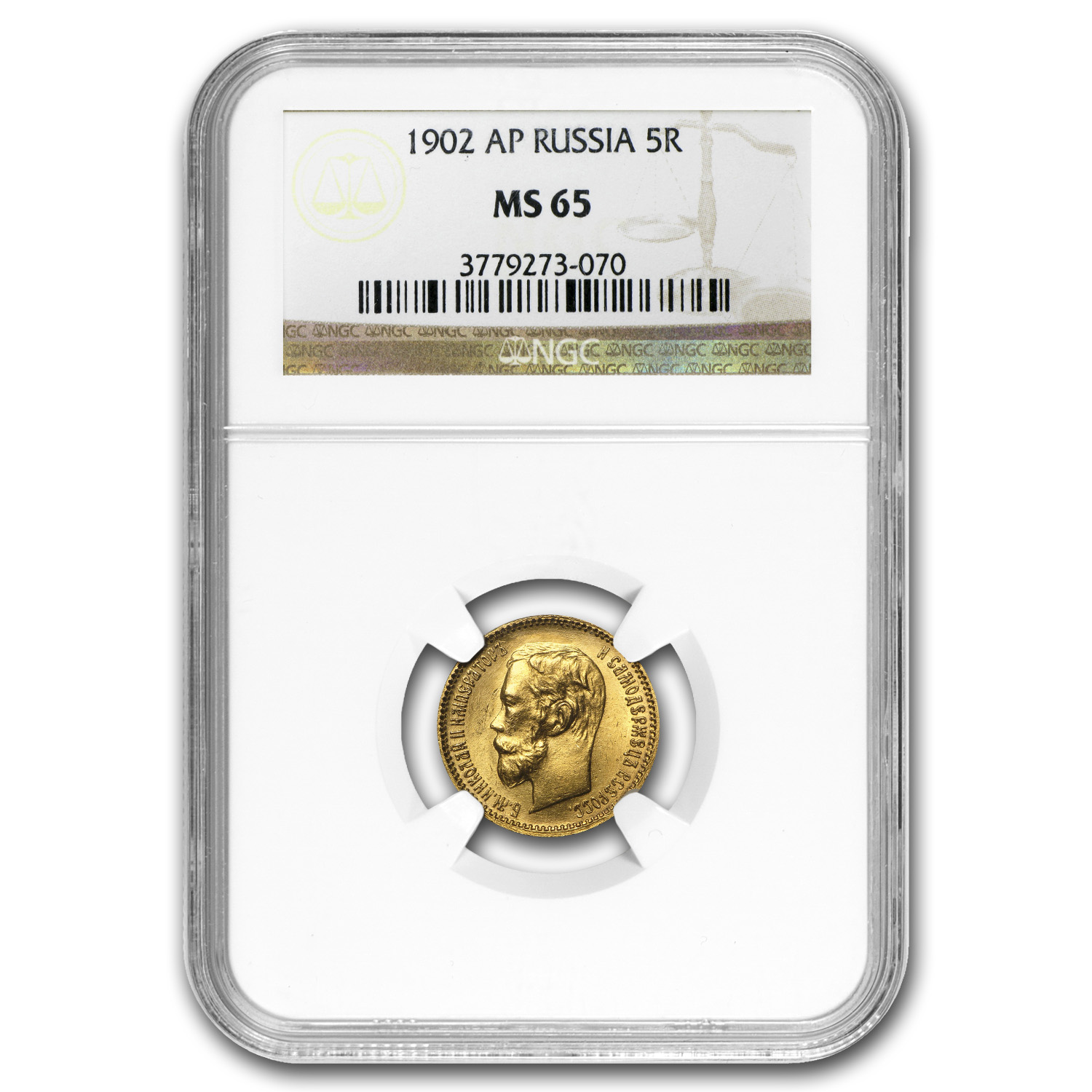 1902 Russia Gold 5 Roubles MS-65 NGC