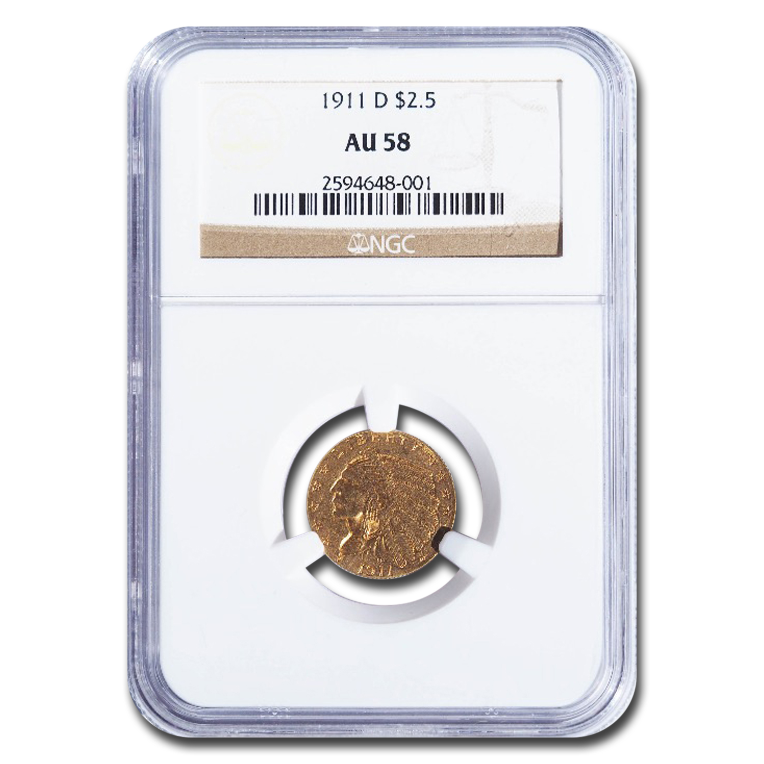 1911-D $2.50 Indian Gold Quarter Eagle - AU-58 NGC - Key Date!