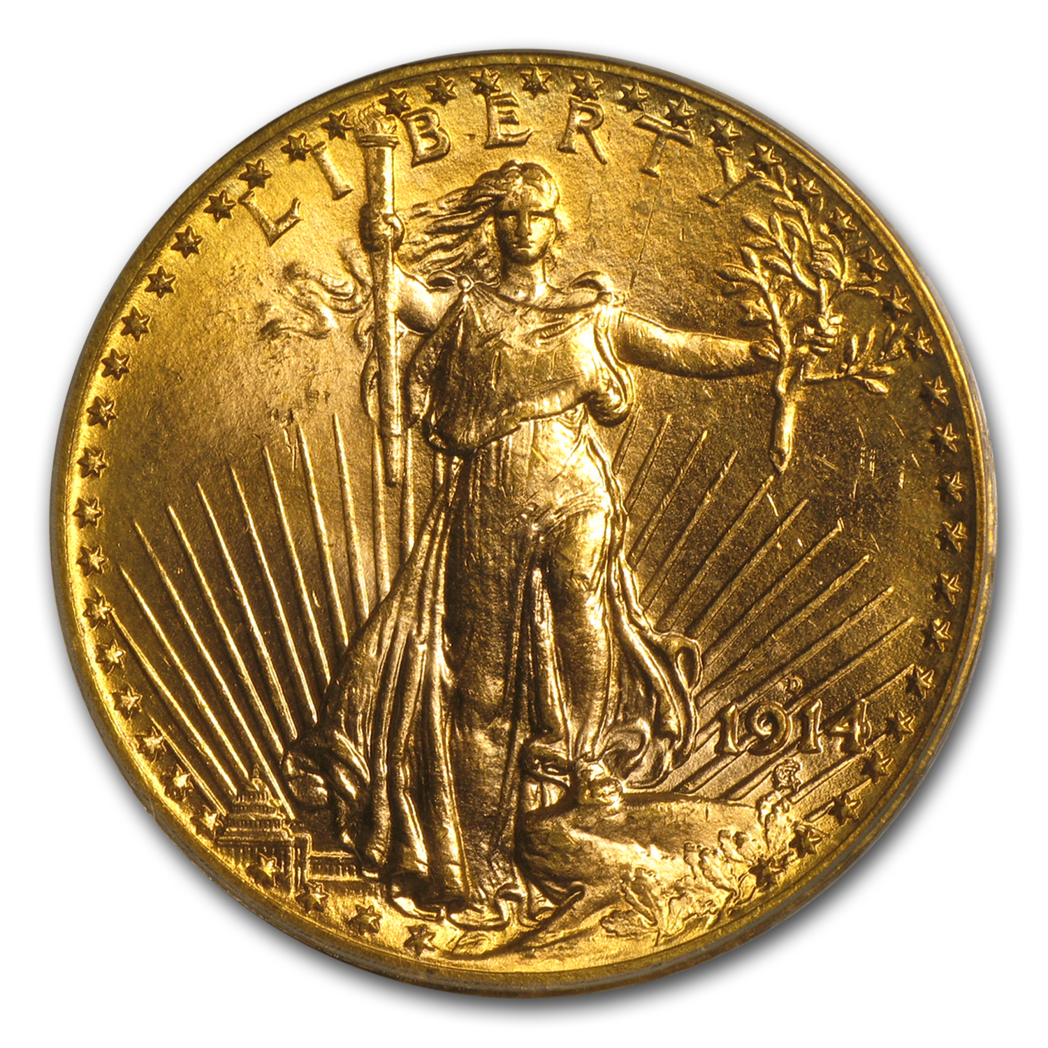 1914-D $20 St. Gaudens Gold Double Eagle - MS-64 PCGS