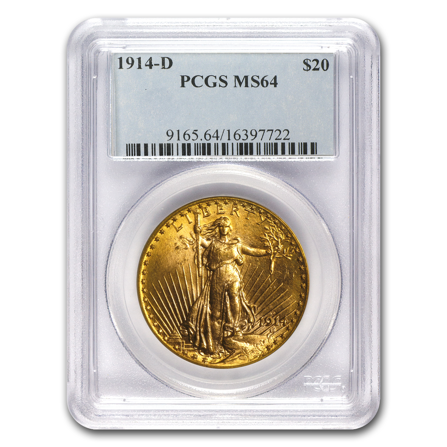 1914-D $20 St. Gaudens Gold Double Eagle MS-64 PCGS