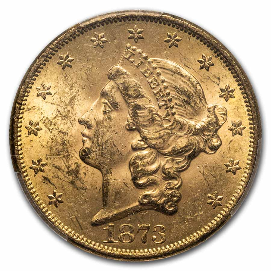 1873 $20 Liberty Gold Double Eagle Open 3 MS-62 PCGS