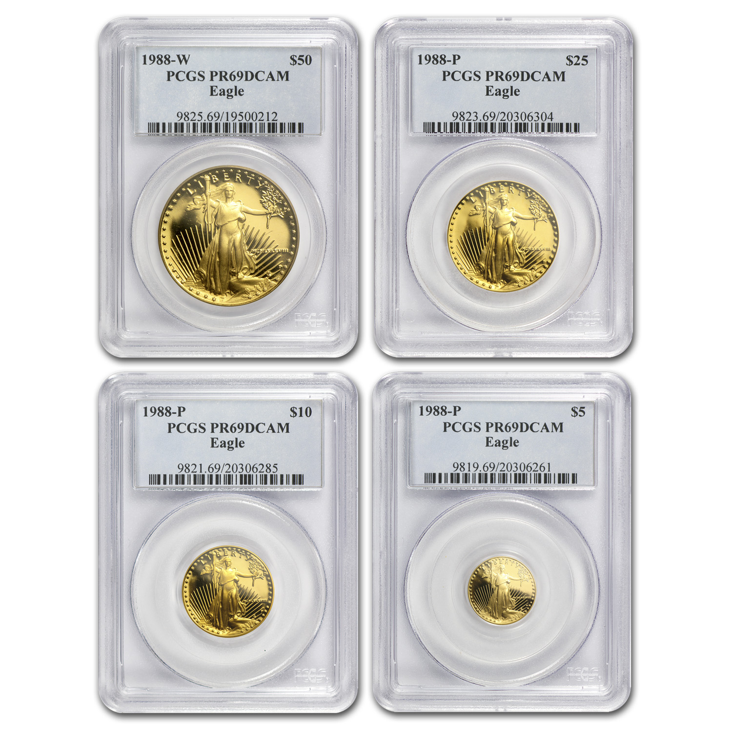 1988 4-Coin Proof Gold American Eagle Set PR-69 PCGS