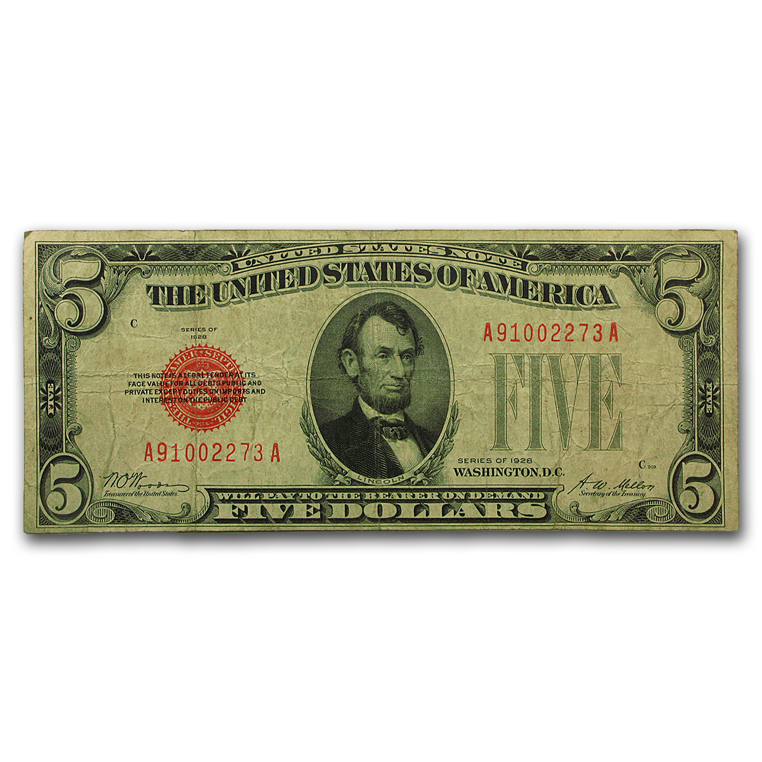 1928 $5.00 U.S. Note Red Seal VG