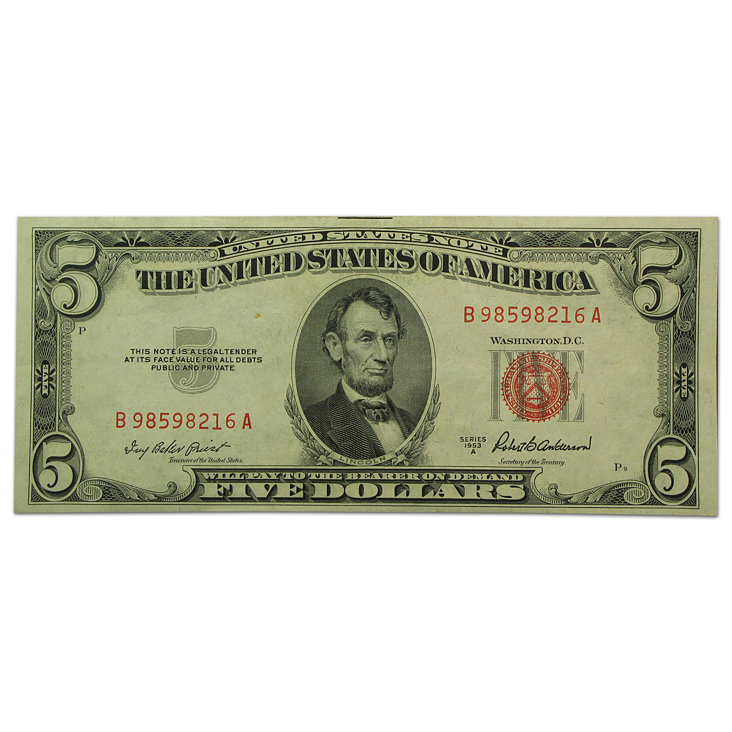 1953s $5.00 Red Seal (Extra Fine)