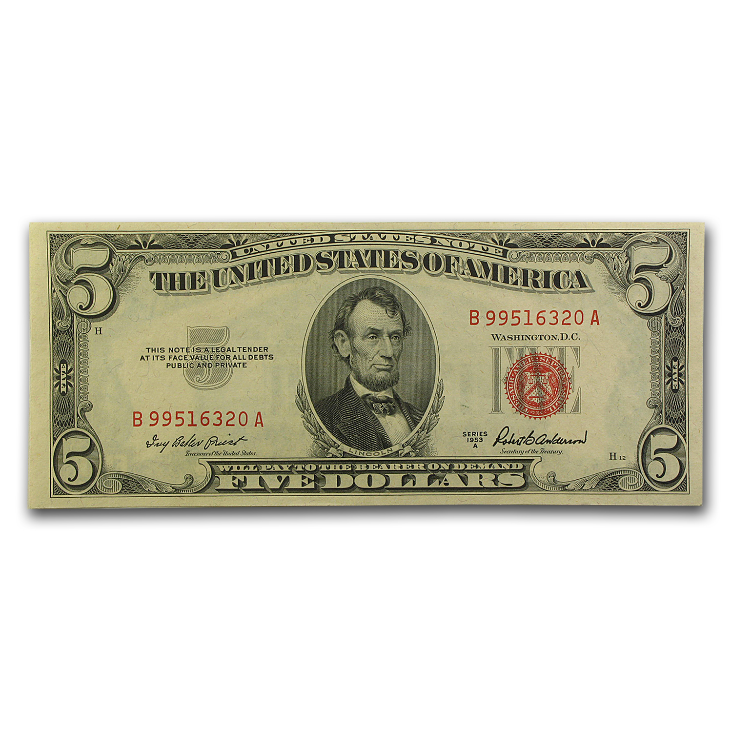 1953s $5.00 U.S. Note Red Seal AU