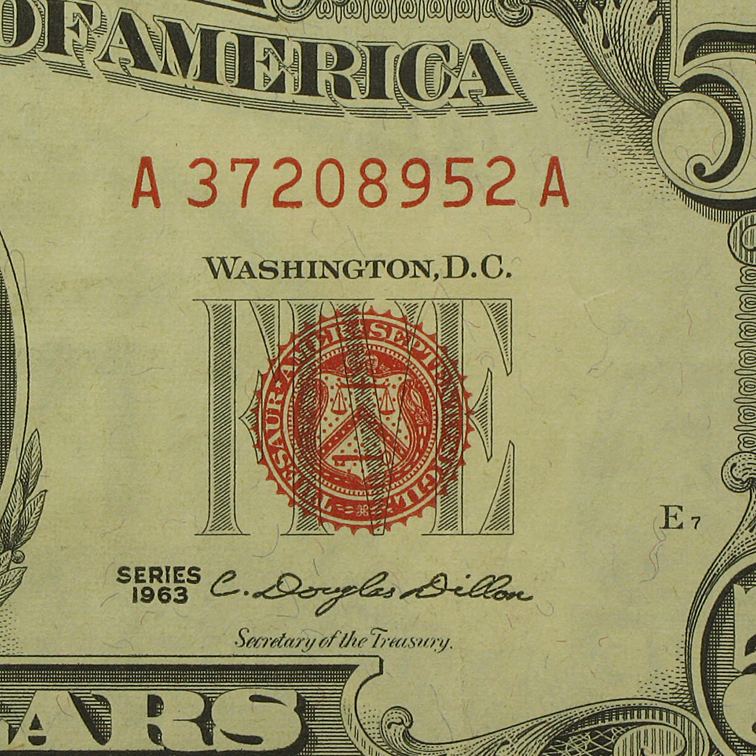 1963 $5.00 USNs (Red Seal) (Extra Fine)